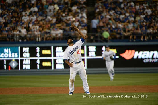 Los Angeles Dodgers Howie Kendrick catches pop up during game against the Milwaukee Brewers Satuday, June 18, 2016 at Dodger Stadium. Photo by Jon SooHoo