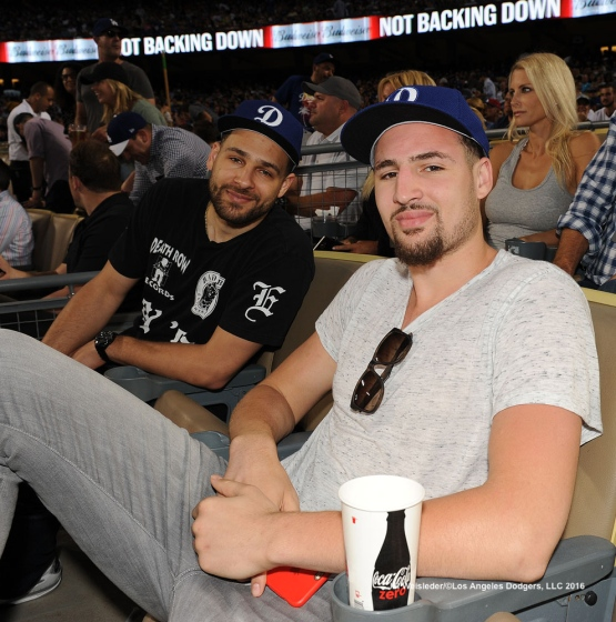 Klay and Mychel Thompson take in the Dodger game. Jill Weisleder/Dodgers