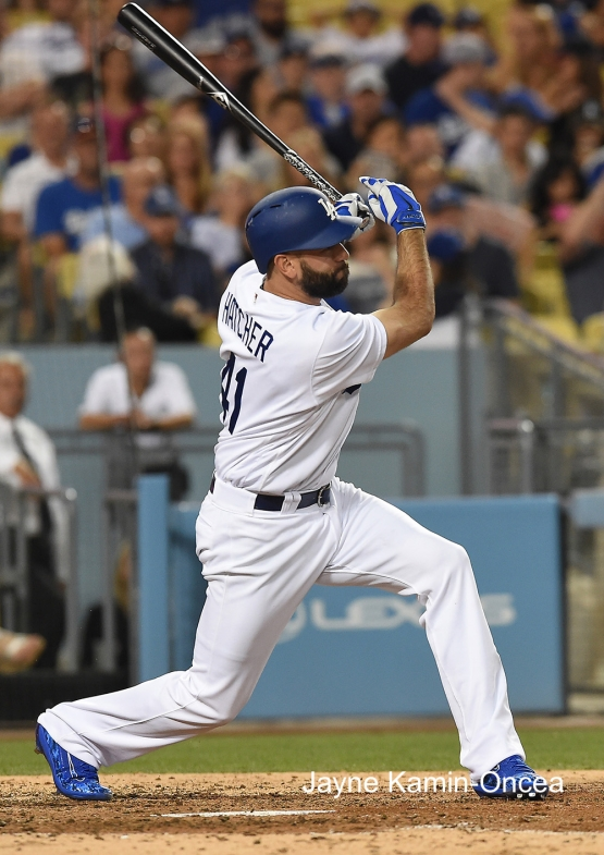 Los Angeles Dodgers Chris Hatcher gets first career hit during game against the Milwaukee Brewers Satuday, June 18, 2016 at Dodger Stadium. Photo by Jayne Kamin-Oncea