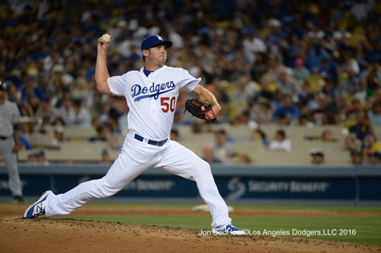 Los Angeles Dodgers Casey Fien pitches during game against the Milwaukee Brewers Satuday, June 18, 2016 at Dodger Stadium. Photo by Jon SooHoo