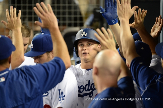 Los Angeles Dodgers Joc Pederson homers during game against the Milwaukee Brewers Satuday, June 18, 2016 at Dodger Stadium. Photo by Jon SooHoo