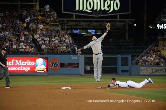 Los Angeles Dodgers Corey Seager is safe at second during game against the Milwaukee Brewers Satuday, June 18, 2016 at Dodger Stadium. Photo by Jon SooHoo