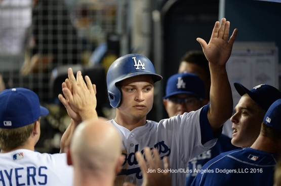 Los Angeles Dodgers Corey Seager scores during game against the Milwaukee Brewers Satuday, June 18, 2016 at Dodger Stadium. Photo by Jon SooHoo