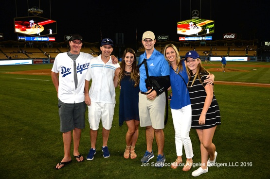 Guests of the Patton family pose after win against the Milwaukee Brewers Satuday, June 18, 2016 at Dodger Stadium. Photo by Jon SooHoo