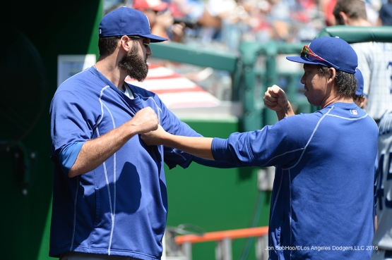 Los Angeles Dodgers  Scott Van Slyke and Kenta Maeda horseplay prior to game during game against the Washington Nationals Thursday, July 21, 2016 at Nationals Park in Washington,DC. Photo by Jon SooHoo/©Los Angeles Dodgers,LLC 2016