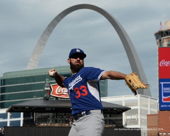 Los Angeles Dodgers Scott Van Slyke prior to game against the St. Louis Cardinals at Busch Stadium Friday, July 22, 2016 in St.Louis, Missouri.  Photo by Jon SooHoo/©Los Angeles Dodgers,LLC 2016