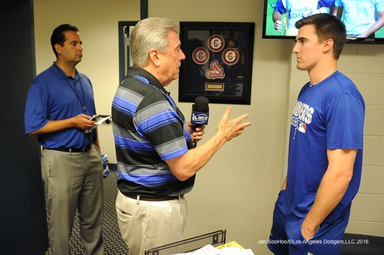 Los Angeles Dodgers Ross Stripling interviewed prior to game against the St. Louis Cardinals at Busch Stadium Saturday, July 23, 2016 in St.Louis, Missouri.  Photo by Jon SooHoo/©Los Angeles Dodgers,LLC 2016