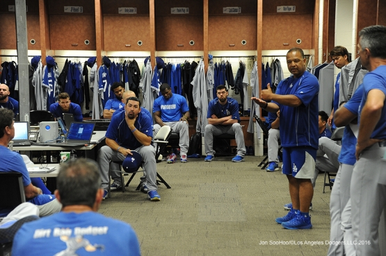 Los Angeles Dodgers meet prior to game against the Arizona Diamondbacks Friday, July 15, 2016 at Chase Field in Phoenix, Arizona. Photo by Jon SooHoo/©Los Angeles Dodgers,LLC 2016