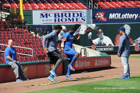 Los Angeles Dodgers Kenley Jansen and Yasiel Puig workout prior to game against the St. Louis Cardinals at Busch Stadium Saturday, July 23, 2016 in St.Louis, Missouri.  Photo by Jon SooHoo/©Los Angeles Dodgers,LLC 2016