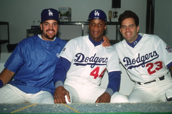 Mike Piazza, Darryl Strawberry and Eric Karross in Taiwan October 1993. © Jon SooHoo/Los Angeles Dodgers