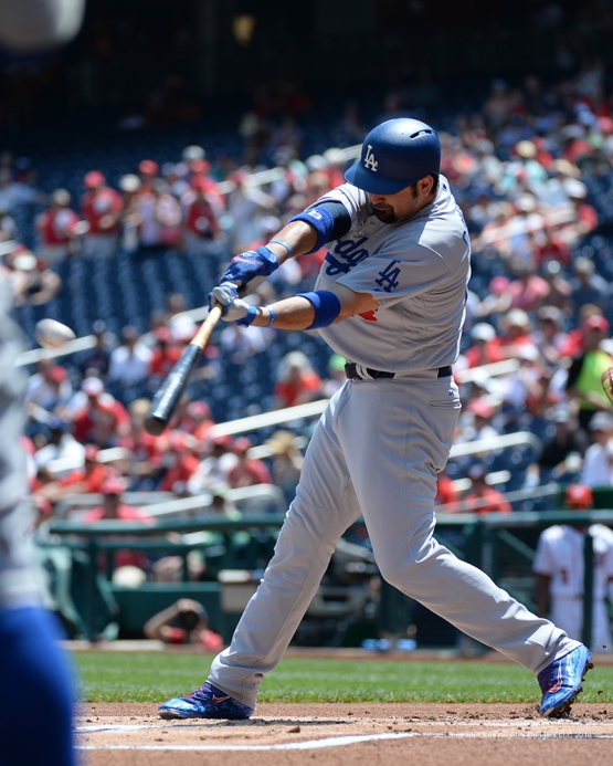 Los Angeles Dodgers Adrian Gonzalez doubles during game against the Washington Nationals Thursday, July 21, 2016 at Nationals Park in Washington,DC. Photo by Jon SooHoo/©Los Angeles Dodgers,LLC 2016