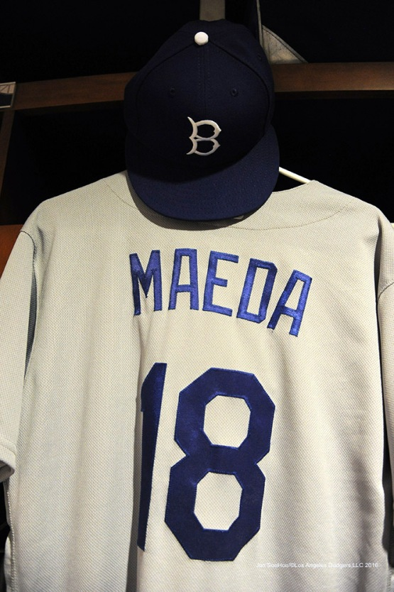 Los Angeles Dodgers Kenta Maeda jersey and hat prior to game against the St. Louis Cardinals at Busch Stadium Saturday, July 23, 2016 in St.Louis, Missouri.  Photo by Jon SooHoo/©Los Angeles Dodgers,LLC 2016