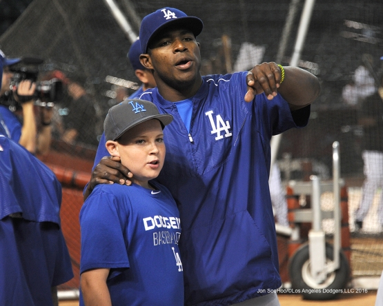 Los Angeles Dodgers Yasiel Puig with OIin Ward prior to game against the Arizona Diamondbacks Friday, July 15, 2016 at Chase Field in Phoenix, Arizona. Photo by Jon SooHoo/©Los Angeles Dodgers,LLC 2016