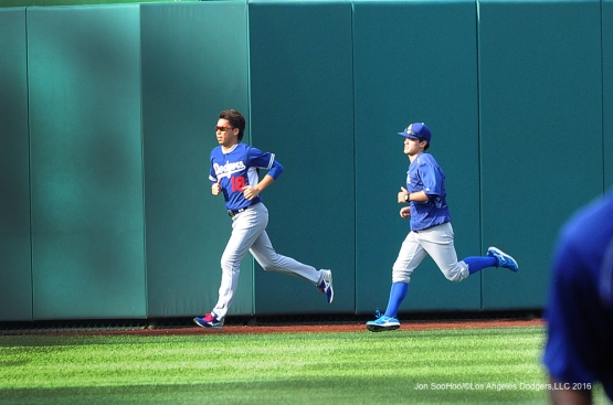 Los Angeles Dodgers Kenta Maeda and Will Ireton sprint prior to game against the Washington Nationals Wednesday, July 20, 2016 at Nationals Park in Washington,DC. Photo by Jon SooHoo/©Los Angeles Dodgers,LLC 2016