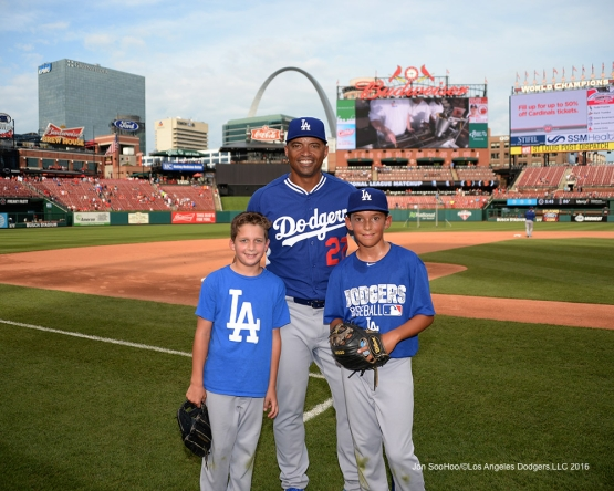The Lombards prior to  game against the St. Louis Cardinals at Busch Stadium Friday, July 22, 2016 in St.Louis, Missouri.  Photo by Jon SooHoo/©Los Angeles Dodgers,LLC 2016