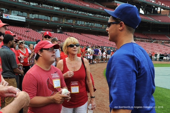 Los Angeles Dodgers Joc Pederson and new friend prior to game against the St. Louis Cardinals at Busch Stadium Friday, July 22, 2016 in St.Louis, Missouri.  Photo by Jon SooHoo/©Los Angeles Dodgers,LLC 2016