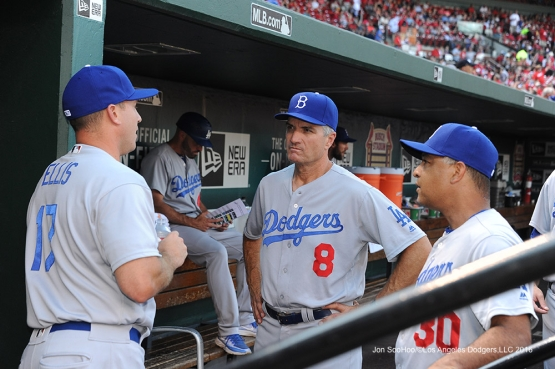 Los Angeles Dodgers A.J.Ellis, Bob Geren and Dave Roberts prior to game against the St. Louis Cardinals at Busch Stadium Saturday, July 23, 2016 in St.Louis, Missouri.  Photo by Jon SooHoo/©Los Angeles Dodgers,LLC 2016
