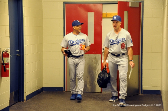 Los Angeles Dodgers Dave Roberts and Bob Geren prior to game against the St. Louis Cardinals at Busch Stadium Sunday, July 24, 2016 in St.Louis, Missouri. Photo by Jon SooHoo/©Los Angeles Dodgers,LLC 2016