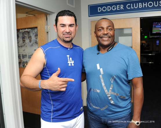 Los Angeles Dodgers Adrian Gonzalez and Pedro Guerrero  pose prior to game against the Colorado Rockies Friday, July 1, 2016 at Dodger Stadium in Los Angeles, California. Photo by Jon SooHoo/©Los Angeles Dodgers,LLC 2016