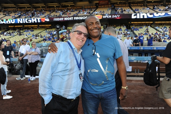 Great Los Angeles Dodger PR guy Steve Brener poses with Pedro Guerrero prior to game against the Colorado Rockies Friday, July 1, 2016 at Dodger Stadium in Los Angeles, California. Photo by Jon SooHoo/©Los Angeles Dodgers,LLC 2016