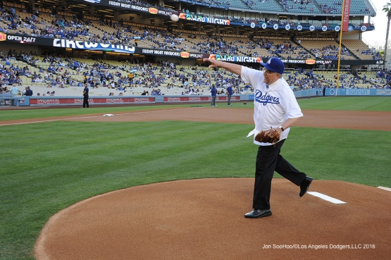 Los Angeles Dodgers fan throws out the first pitchduring game against the Colorado Rockies Friday, July 1, 2016 at Dodger Stadium in Los Angeles, California. Photo by Jon SooHoo/©Los Angeles Dodgers,LLC 2016