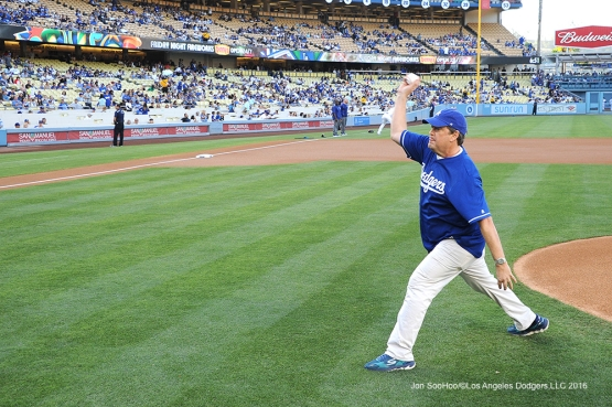 KTLA Morning News stars this guy, Sam Rubin prior to game Los Angeles Dodgers during game against the Colorado Rockies Friday, July 1, 2016 at Dodger Stadium in Los Angeles, California. Photo by Jon SooHoo/©Los Angeles Dodgers,LLC 2016