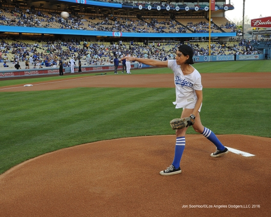 Aubrey Plaza during Los Angeles Dodgers  game against the Colorado Rockies Friday, July 1, 2016 at Dodger Stadium in Los Angeles, California. Photo by Jon SooHoo/©Los Angeles Dodgers,LLC 2016