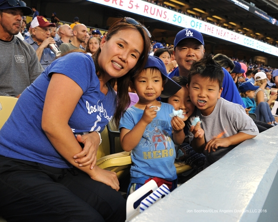 Great Los Angeles Dodgers fans pose prior to game against the Colorado Rockies Friday, July 1, 2016 at Dodger Stadium in Los Angeles, California. Photo by Jon SooHoo/©Los Angeles Dodgers,LLC 2016
