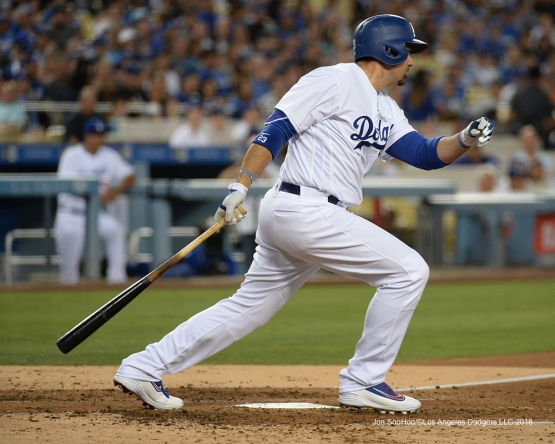 Los Angeles Dodgers Adrian Gonzalez singles during game against the Colorado Rockies Friday, July 1, 2016 at Dodger Stadium in Los Angeles, California. Photo by Jon SooHoo/©Los Angeles Dodgers,LLC 2016