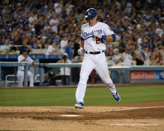 Los Angeles Dodgers Chase Utley scores during game against the Colorado Rockies Friday, July 1, 2016 at Dodger Stadium in Los Angeles, California. Photo by Jon SooHoo/©Los Angeles Dodgers,LLC 2016