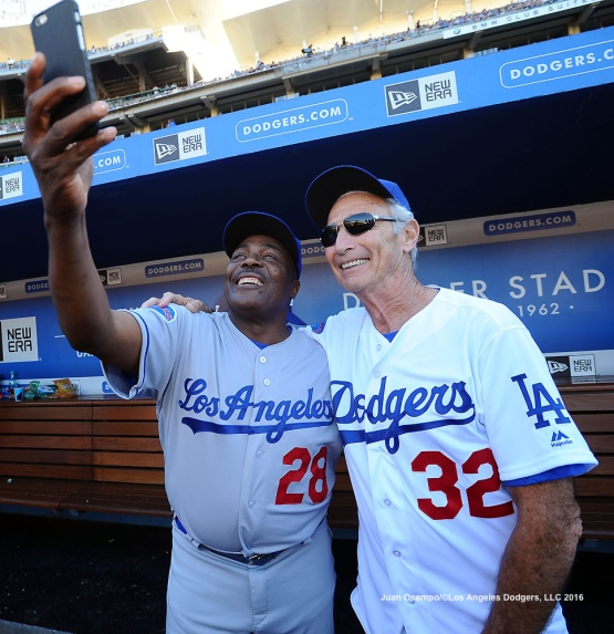 Pedro Guerrero takes a selfie with Sandy Koufax.