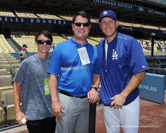 A.J.Ellis and guests pose during game against the Colorado Rockes Sunday, July 3, 2016 at Dodger Stadium in Los Angeles, California. Photo by Jon SooHoo/©Los Angeles Dodgers,LLC 2016