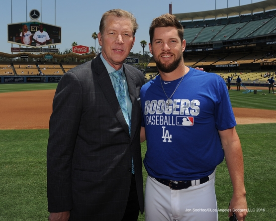 Orel Hershiser and Bud Norris prior to Los Angeles Dodgers game against the Colorado Rockes Sunday, July 3, 2016 at Dodger Stadium in Los Angeles, California. Photo by Jon SooHoo/©Los Angeles Dodgers,LLC 2016