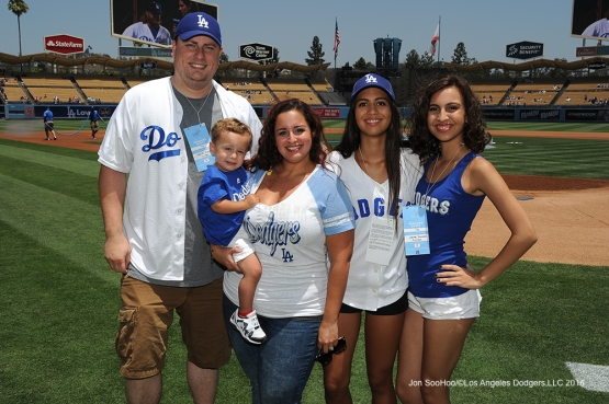 Great Los Angeles Dodgers fans pose prior to game against the Colorado Rockes Sunday, July 3, 2016 at Dodger Stadium in Los Angeles, California. Photo by Jon SooHoo/©Los Angeles Dodgers,LLC 2016