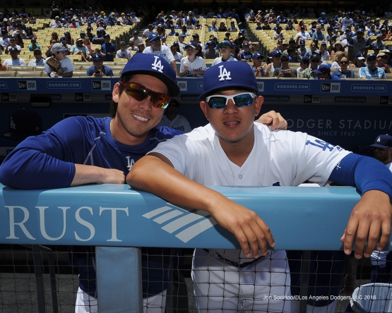 Los Angeles Dodgers Kenta Maeda and Julio Urias prior to game against the Colorado Rockes Sunday, July 3, 2016 at Dodger Stadium in Los Angeles, California. Photo by Jon SooHoo/©Los Angeles Dodgers,LLC 2016