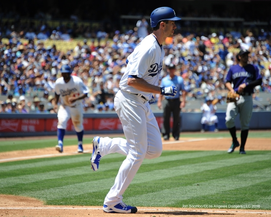 Los Angeles Dodgers Brandon McCarthy walks scoring Howie Kendrick during game against the Colorado Rockes Sunday, July 3, 2016 at Dodger Stadium in Los Angeles, California. Photo by Jon SooHoo/©Los Angeles Dodgers,LLC 2016