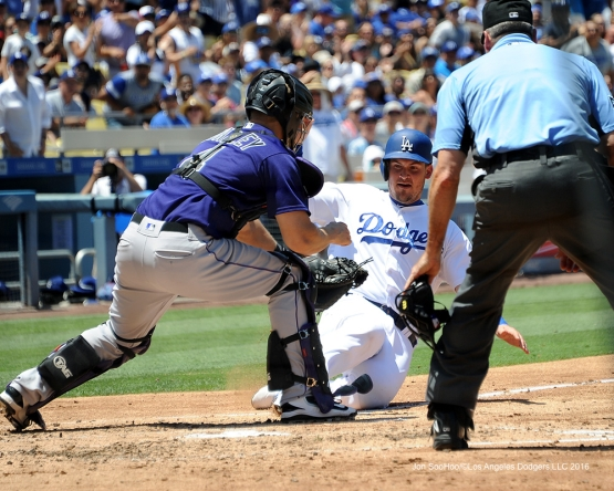 Grandal out at the plate--Los Angeles Dodgers during game against the Colorado Rockes Sunday, July 3, 2016 at Dodger Stadium in Los Angeles, California. Photo by Jon SooHoo/©Los Angeles Dodgers,LLC 2016