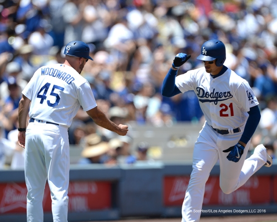 Los Angeles Dodgers Trayce Thompson homers during game against the Colorado Rockes Sunday, July 3, 2016 at Dodger Stadium in Los Angeles, California. Photo by Jon SooHoo/©Los Angeles Dodgers,LLC 2016