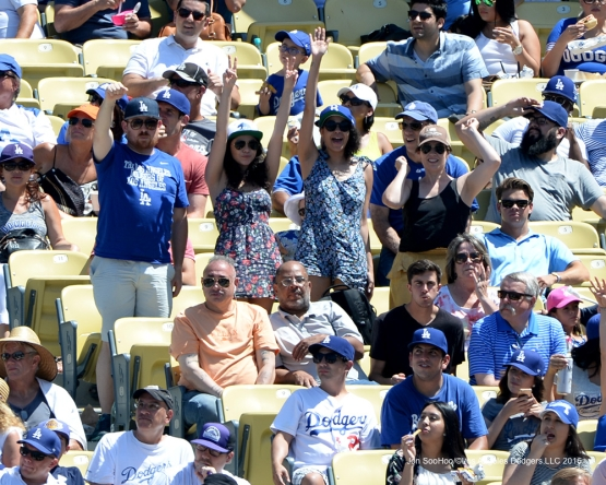 Great Los Angeles Dodgers fans during game against the Colorado Rockes Sunday, July 3, 2016 at Dodger Stadium in Los Angeles, California. Photo by Jon SooHoo/©Los Angeles Dodgers,LLC 2016