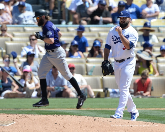 Los Angeles Dodgers Adam Liberatore during game against the Colorado Rockies Sunday, July 3, 2016 at Dodger Stadium in Los Angeles, California. Photo by Jon SooHoo/©Los Angeles Dodgers,LLC 2016