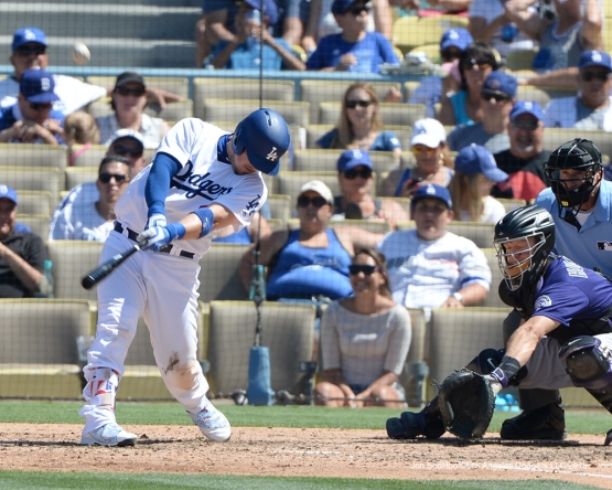 Los Angeles Dodgers Yasmani Grandal homers during game against the Colorado Rockies Sunday, July 3, 2016 at Dodger Stadium in Los Angeles, California. Photo by Jon SooHoo/©Los Angeles Dodgers,LLC 2016