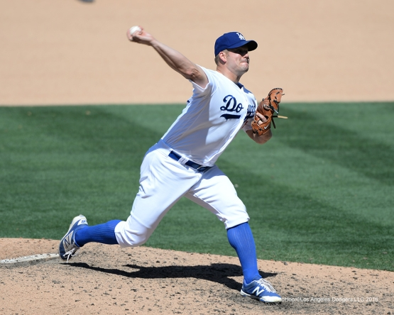 Los Angeles Dodgers Joe Blanton pitches against the Colorado Rockies Sunday, July 3, 2016 at Dodger Stadium in Los Angeles, California. Photo by Jon SooHoo/©Los Angeles Dodgers,LLC 2016