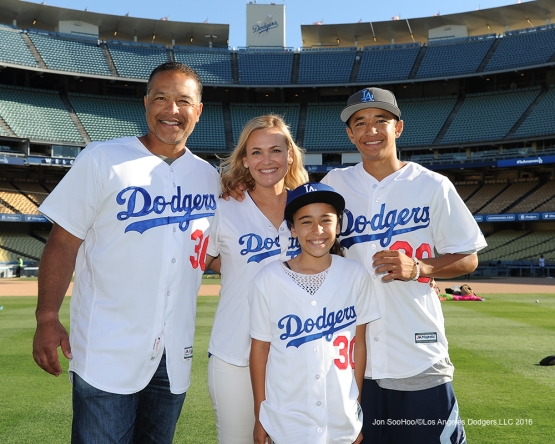 The Roberts family pose on Los Angeles Dodgers Family Game Sunday, July 3, 2016 at Dodger Stadium in Los Angeles, California. Photo by Jon SooHoo/©Los Angeles Dodgers,LLC 2016
