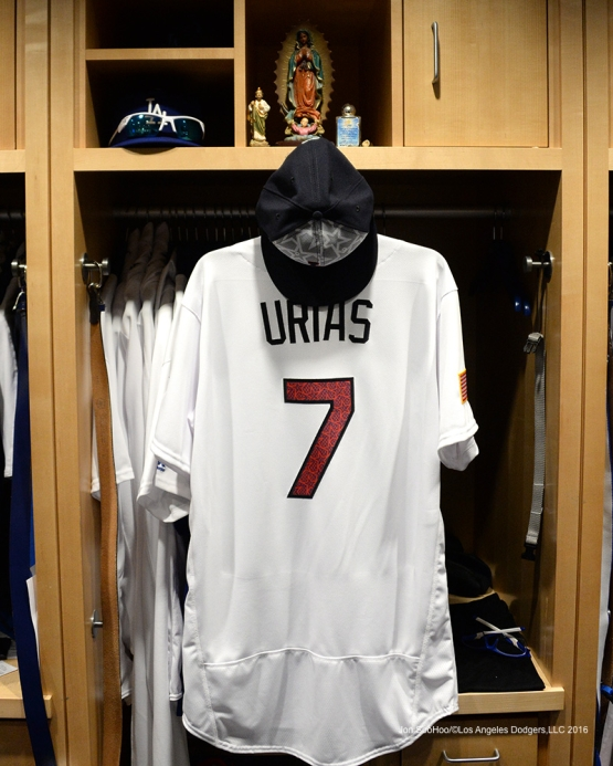 The Fourth of July jersey to be worn by Julio Urias against the Baltimore Orioles Monday at Dodger Stadium in Los Angeles, California. Photo by Jon SooHoo/©Los Angeles Dodgers,LLC 2016