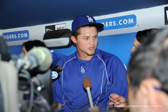 All Star Corey Seager addresses the media prior to game against the Baltimore Orioles Tuesday, July 5, 2016 at Dodger Stadium in Los Angeles, California. Photo by Jon SooHoo/©Los Angeles Dodgers,LLC 2016