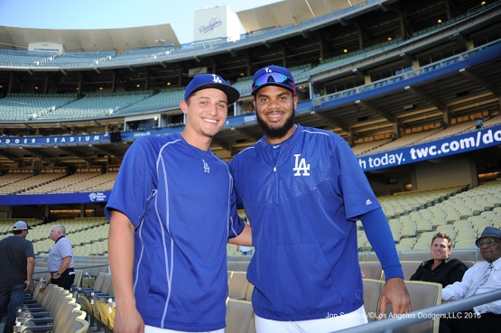 All Stars Corey Seager and Kenley Jansen--Los Angeles Dodgers during game against the Baltimore Orioles Tuesday, July 5, 2016 at Dodger Stadium in Los Angeles, California. Photo by Jon SooHoo/©Los Angeles Dodgers,LLC 2016