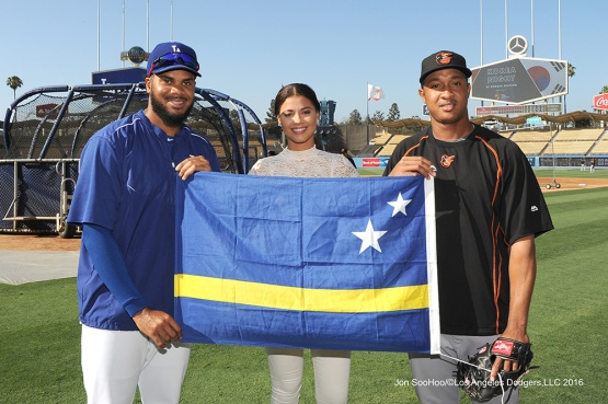 Kenley Jansen and flag--Los Angeles Dodgers during game against the Baltimore Orioles Tuesday, July 5, 2016 at Dodger Stadium in Los Angeles, California. Photo by Jon SooHoo/©Los Angeles Dodgers,LLC 2016