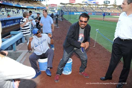 Arsenio Hall and George Lopez--Los Angeles Dodgers during game against the Baltimore Orioles Tuesday, July 5, 2016 at Dodger Stadium in Los Angeles, California. Photo by Jon SooHoo/©Los Angeles Dodgers,LLC 2016