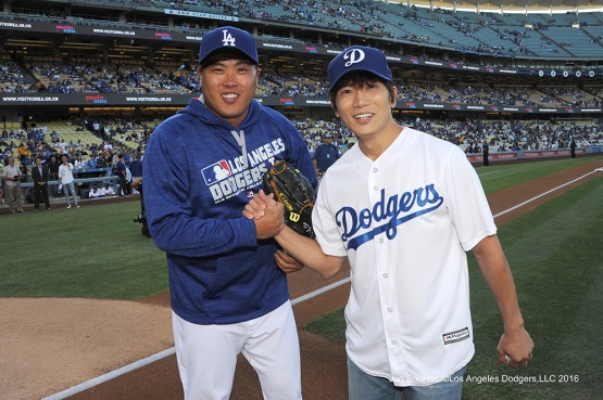 Hyun-jin Ryu and JiSung--Los Angeles Dodgers during game against the Baltimore Orioles Tuesday, July 5, 2016 at Dodger Stadium in Los Angeles, California. Photo by Jon SooHoo/©Los Angeles Dodgers,LLC 2016