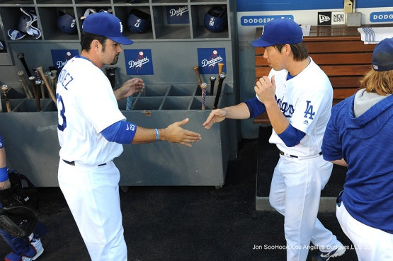 Adrian Gonzalez and Kenta Maeda--Los Angeles Dodgers during game against the Baltimore Orioles Tuesday, July 5, 2016 at Dodger Stadium in Los Angeles, California. Photo by Jon SooHoo/©Los Angeles Dodgers,LLC 2016